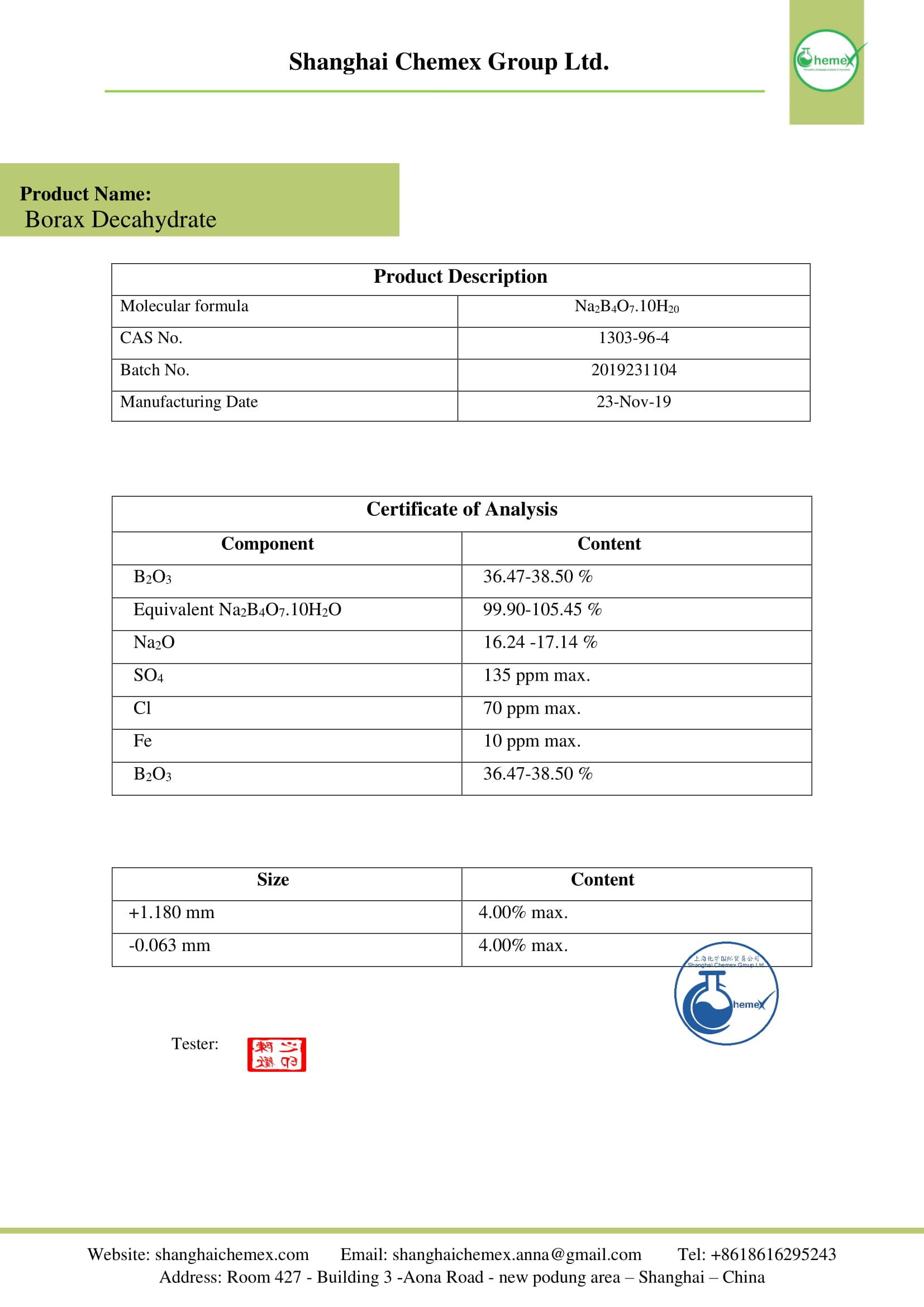 borax deca hydrate COA