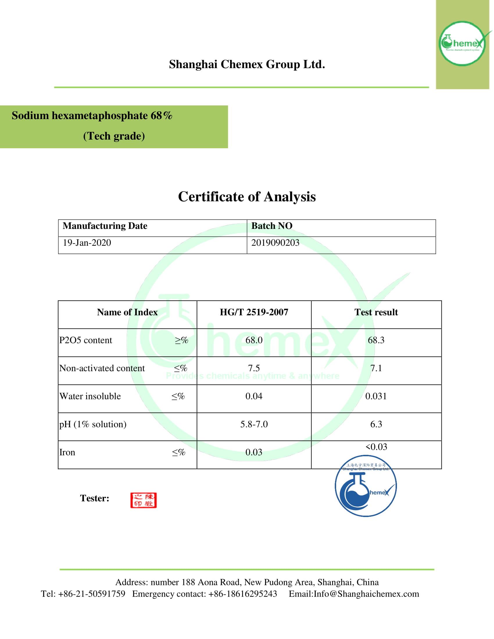 COA of SHMP 68% (tech grade).CHEMEX-1