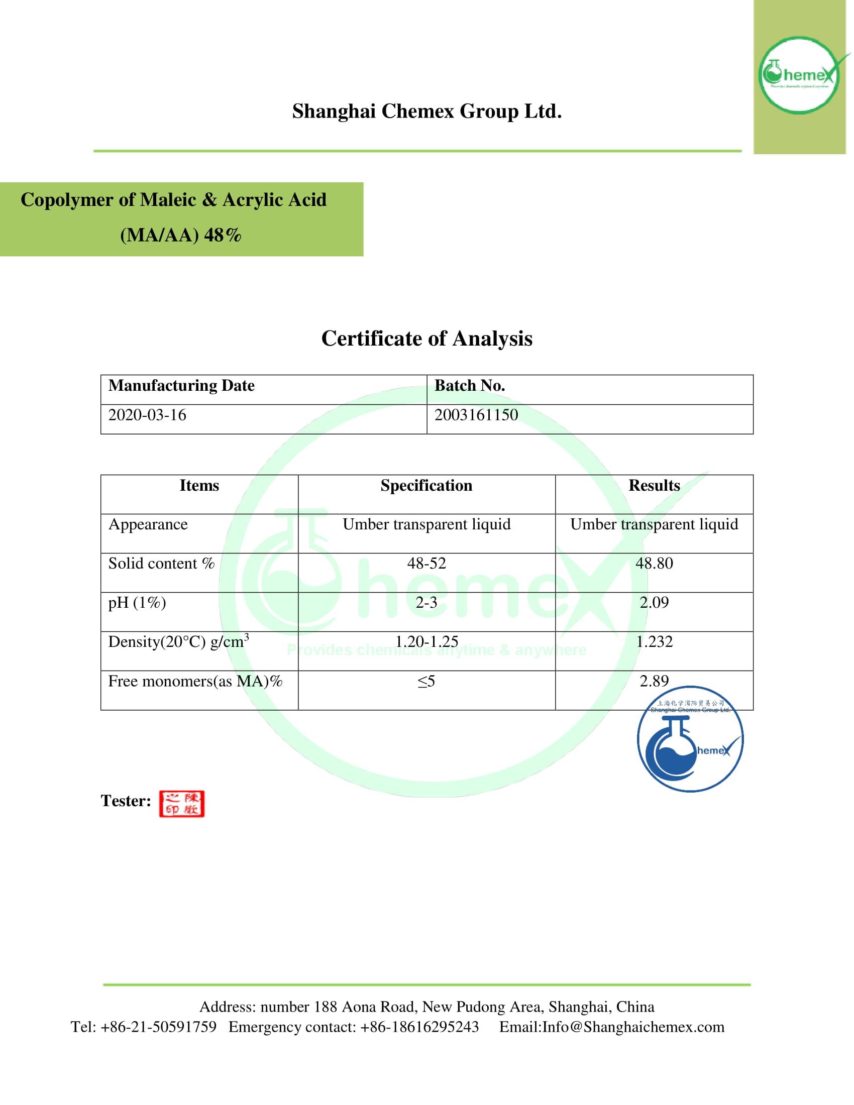 COA of (MAAA) 48%. CHEMEX-1