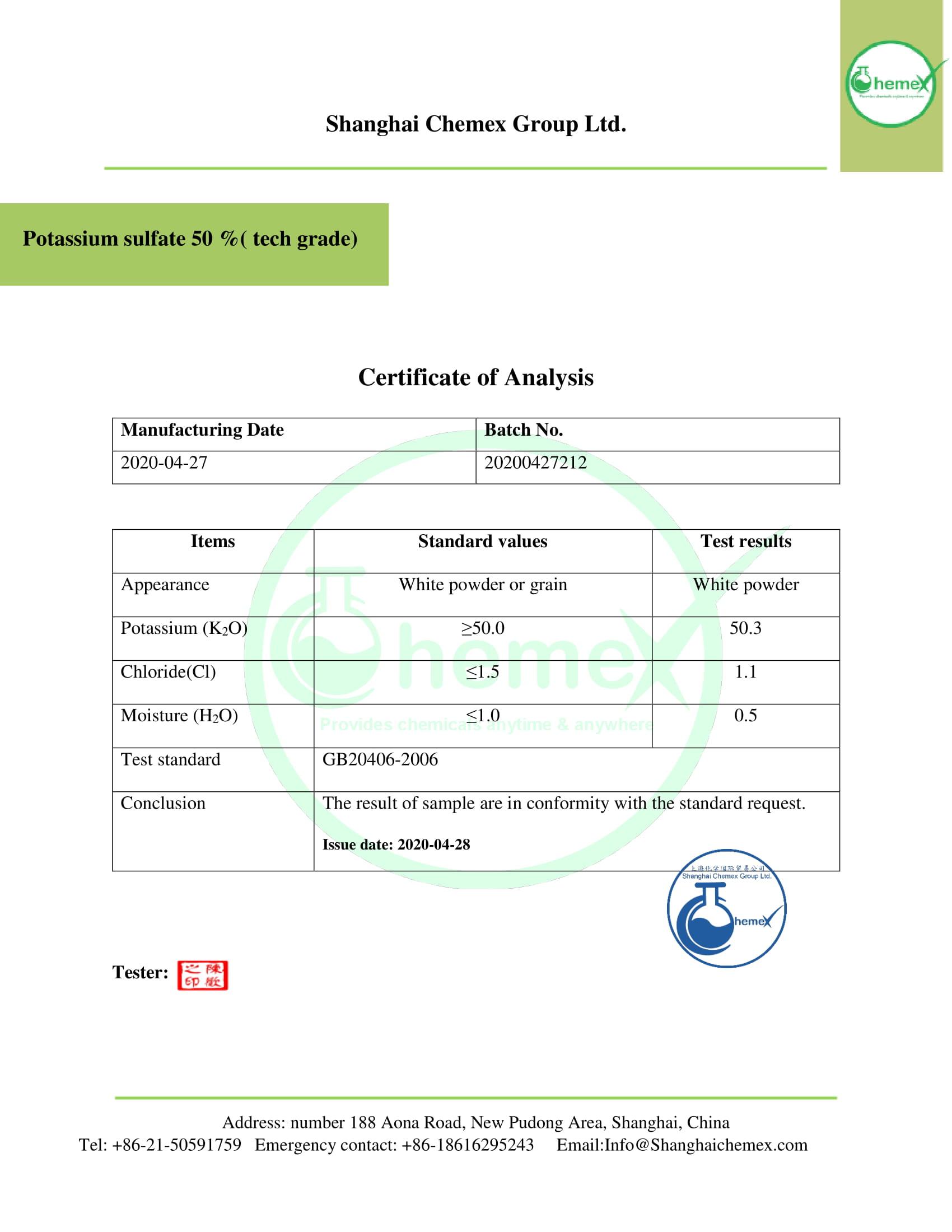 COA of Potassium sulfate 50 %.chemex-1