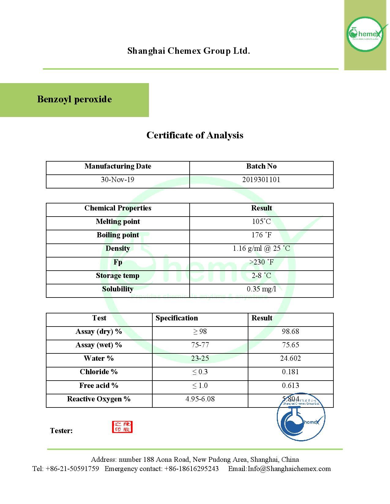 COA of benzoyl proxide. chemex-page-001